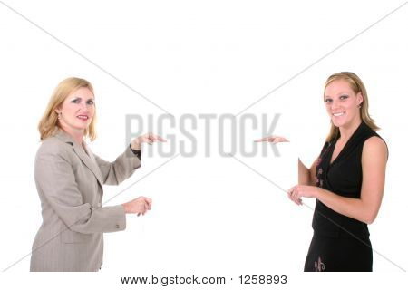 Two Beautiful Women Holding Blank Sign 1