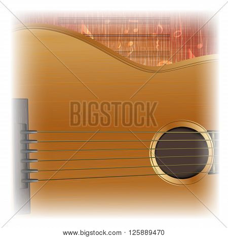 Vector illustration of musical background acoustic guitar close-up lighting. There is room to place text or an image.