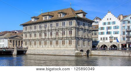 Zurich, Switzerland - 10 April, 2016: the Rathaus building with the Rathaus police station (German: Rathausposten) in the background. The Rathaus in Zurich is Zurich's Town Hall.