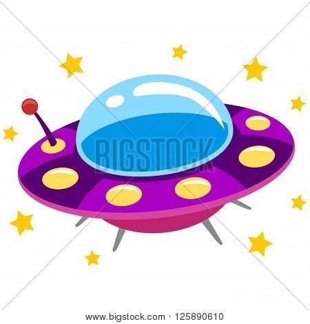 Vector Illustration of Spaceship UFO and Flying Saucer