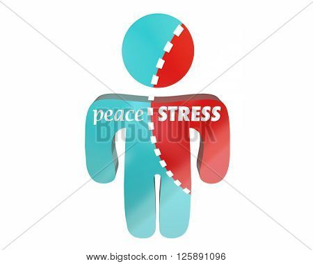 Peace Vs Stress Person Torn Worry Work Health Hurting