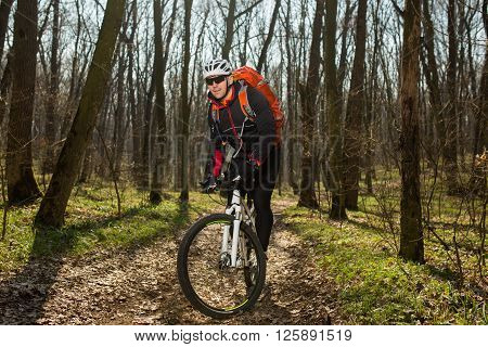 Cyclist in action at Freestyle Mountain Bike Session in green forest