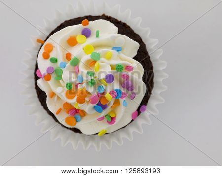 Chocolate Cupcake With White Icing And Colorful Sprinkles