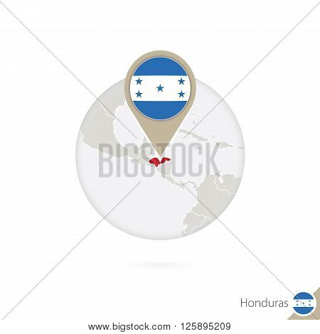 Honduras Map And Flag In Circle. Map Of Honduras, Honduras Flag Pin. Map Of Honduras In The Style Of