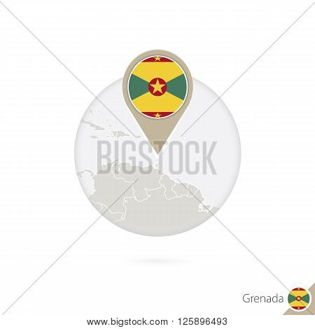 Grenada Map And Flag In Circle. Map Of Grenada, Grenada Flag Pin. Map Of Grenada In The Style Of The