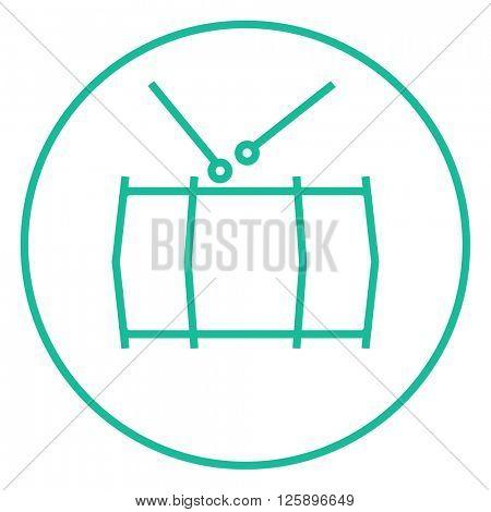 Drum with sticks line icon.