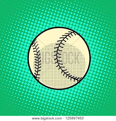 Baseball Ball pop art retro style. Baseball Ball icon. realistic baseball. White baseball vector. Baseball art. Baseball ui