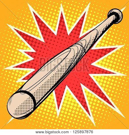 Wood baseball bat retro sports pop art retro style. Sports equipment. Sports vector basketball team sports