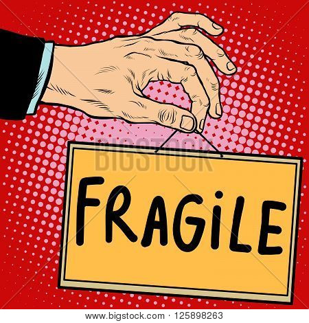 Hand sign fragile pop art retro style. Lettering plate name text input.