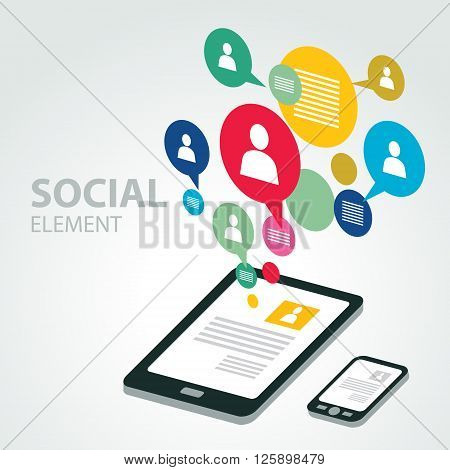 social icon group element tablet and smartphone