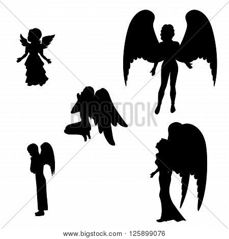 Vector illustration of a isolated silhouette of a black angel icon on a white background. Girl, boy and woman angels.