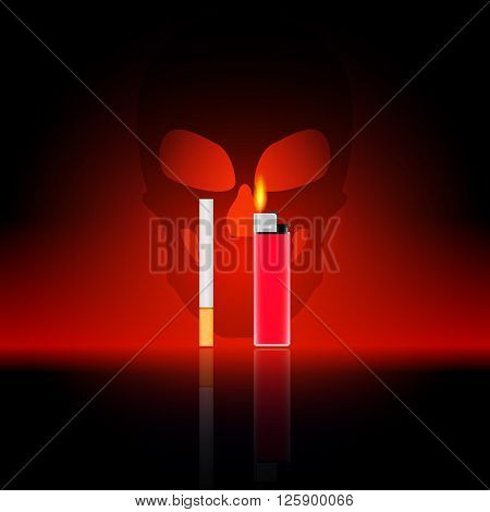 Vector illustration of the harm of smoking. Cigarette and lighter on a background of a skull. Death from smoking.