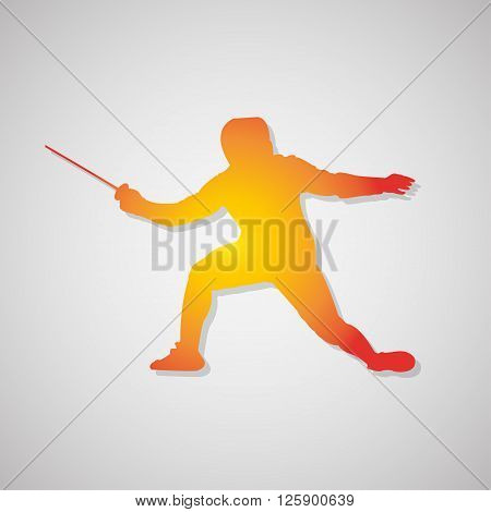 Fencer Icon With Shadow In Orange. Vector Illustration