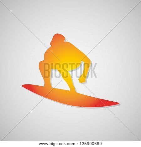 Surfer Icon With Shadow In Orange. Vector Illustration