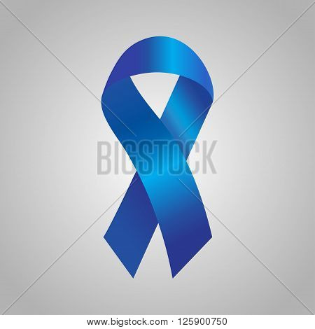 Cancer Ribbon In The Blue Gradient. Vector Illustration