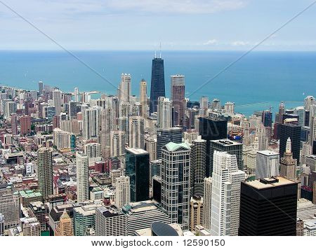 Chicago skyline and lake Michigan