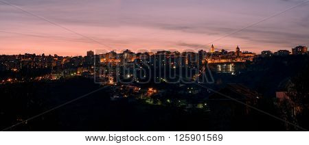 Chieti small city in Abruzzo at sunset (Italy)