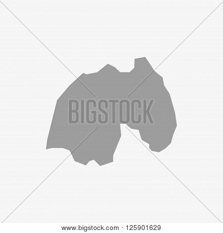 Map Rwanda in gray on a white background