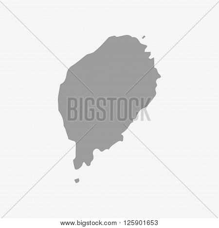 Sao Tome and Principe map in gray on a white background