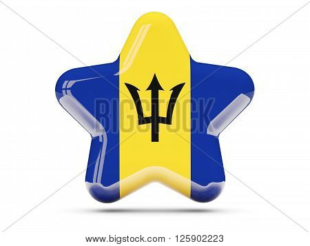 Star Icon With Flag Of Barbados