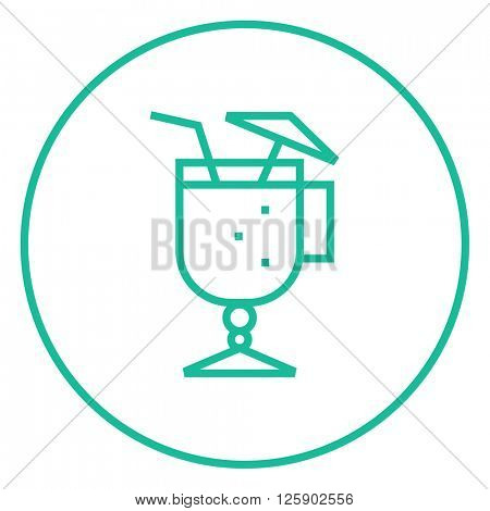 Glass with drinking straw and umbrella line icon.