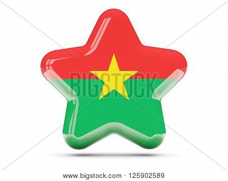 Star Icon With Flag Of Burkina Faso
