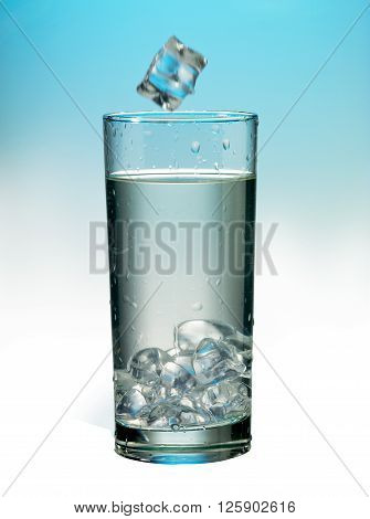 Ice Cubes In A Glass Of Water