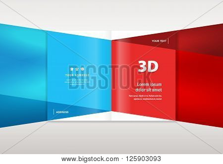 brochure design template - booklet catalog 3d dimensional geometric abstract blue red color