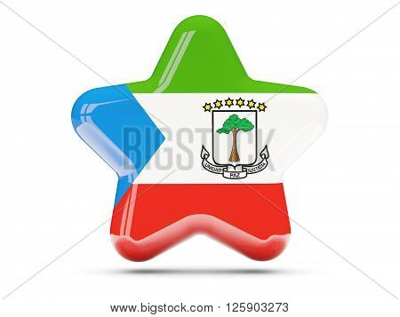 Star Icon With Flag Of Equatorial Guinea