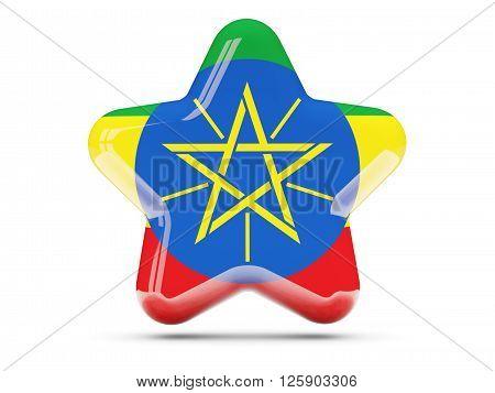 Star Icon With Flag Of Ethiopia