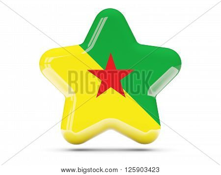 Star Icon With Flag Of French Guiana