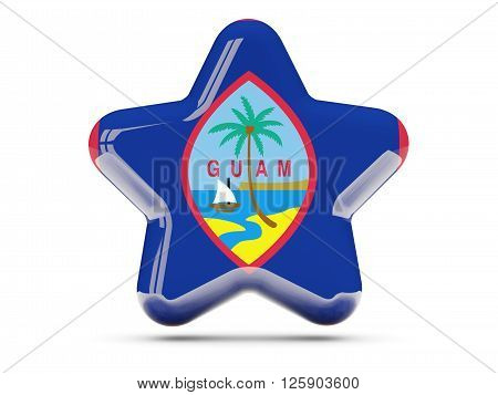Star Icon With Flag Of Guam
