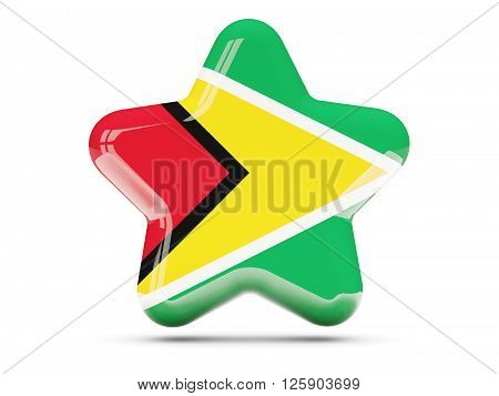 Star Icon With Flag Of Guyana