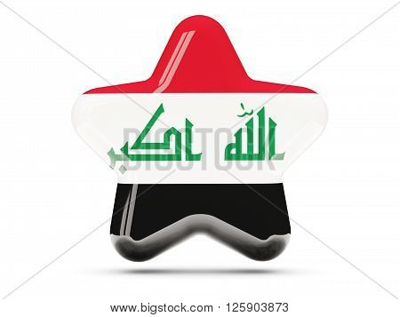 Star Icon With Flag Of Iraq