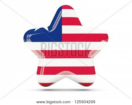 Star Icon With Flag Of Liberia