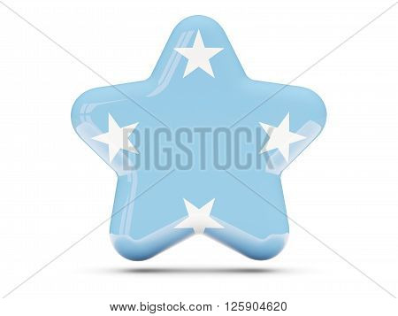Star Icon With Flag Of Micronesia
