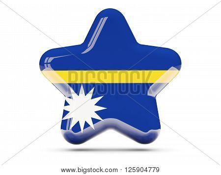 Star Icon With Flag Of Nauru