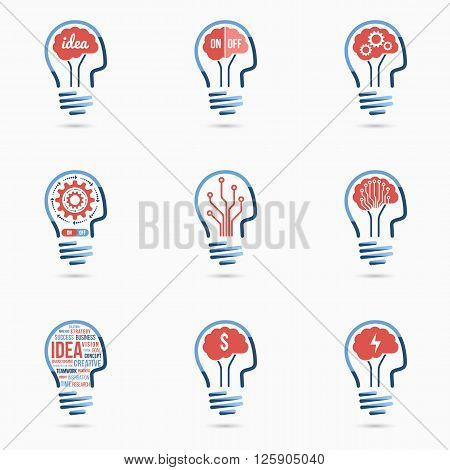 Light bulb idea human head style icons set. Light bulb signs, light bulb symbols. Business concept.