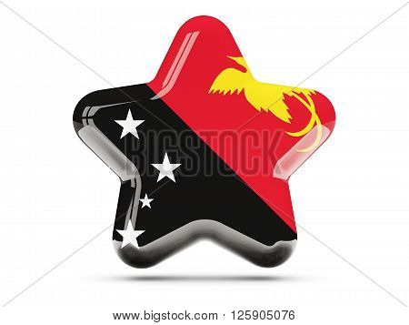 Star Icon With Flag Of Papua New Guinea