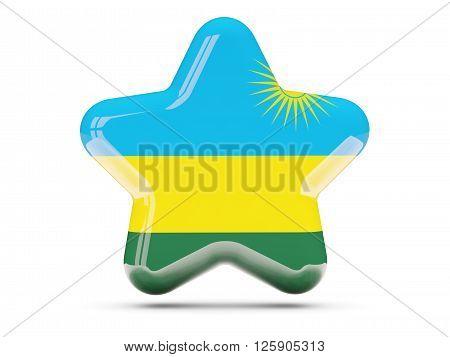 Star Icon With Flag Of Rwanda