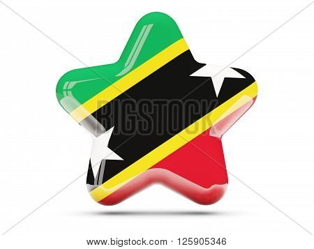Star Icon With Flag Of Saint Kitts And Nevis