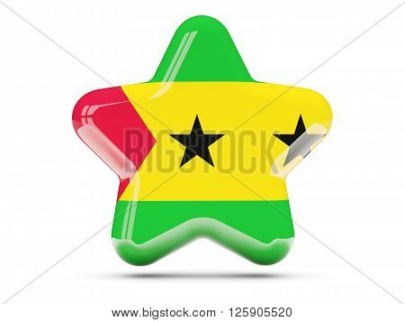 Star Icon With Flag Of Sao Tome And Principe