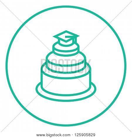 Graduation cap on top of cake line icon.