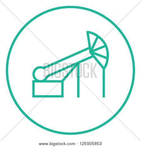 Pump jack oil crane line icon.