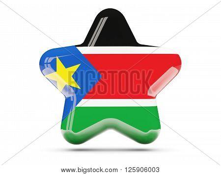 Star Icon With Flag Of South Sudan