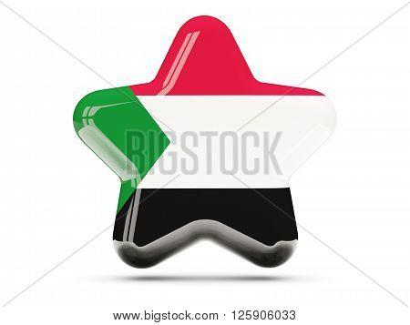 Star Icon With Flag Of Sudan