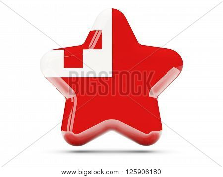 Star Icon With Flag Of Tonga