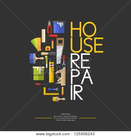 Hand tools for home renovation and construction. Tools in a bright, flat style. Building and house repair. Roller, brush, paint, pencil, tool, hammer, tape measure, putty knife, pencil.