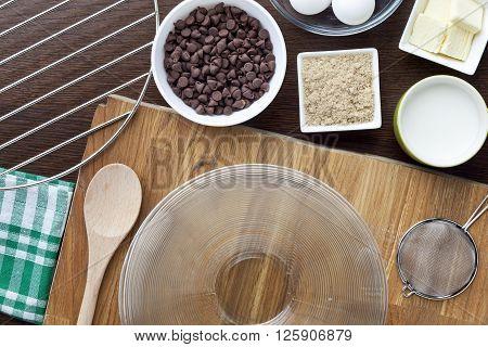 Overhead Shot Of Cookie Ingredient On Kitchen Worktop