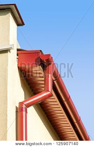 Red Rooftop Gutter